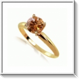 1.00 Quilates Diamante coñac Anillo Solitario 14k oro amarillo
