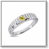 0.25 Carat Grand Jaune Diamant Bague 14K Or blanc