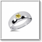 0.50 Carat Grand Jaune Diamant Bague 14K Or blanc