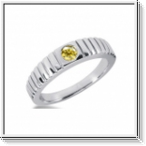 0.35 Carat Grand Jaune Diamant Bague 14K Or blanc