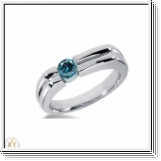 0.50 Carat Grand Bleu Diamant Bague 14K Or blanc