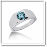 0.75 Carat Grand Bleu Diamant Bague 14K Or blanc