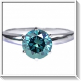 0.75 Quilates Diamante azul Anillo Solitario 14k blanco