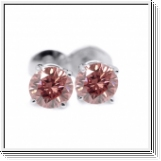 0.25 Ct. Pink Diamond Earstuds - 14K white gold