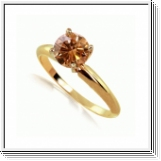 0.50Quilates Diamante coñac Anillo Solitario 14k oro amarillo