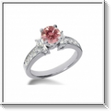 BAGUE 2.20 Ct. ROSE ET BLANC NATUREL DIAMANTS 14K Or
