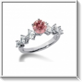 BAGUE 2.00 Ct.  ROSE ET BLANC NATUREL DIAMANTS 14K Or
