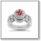 BAGUE 1.42 Ct. ROSE ET BLANC NATUREL DIAMANTS 14K Or