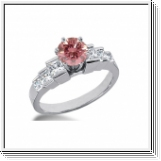 BAGUE 1.84 Ct. ROSE ET BLANC NATUREL DIAMANTS 14K Or
