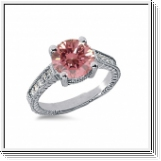 BAGUE 1.15 Ct. ROSE ET BLANC NATUREL DIAMANTS 14K Or