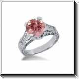BAGUE 1.45 Ct. ROSE ET BLANC NATUREL DIAMANTS 14K Or