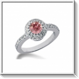 BAGUE 1.41 Ct. ROSE ET BLANC NATUREL DIAMANTS 14K Or