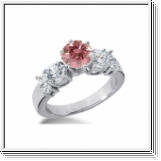 BAGUE 1.90 Ct. ROSE ET BLANC NATUREL DIAMANTS 14K Or