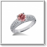 BAGUE 1.38 Ct. ROSE ET BLANC NATUREL DIAMANTS 14K Or