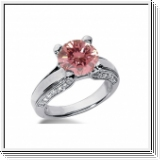BAGUE 1.40 Ct. ROSE ET BLANC NATUREL DIAMANTS 14K Or