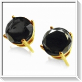 3.00 Ct. black Diamond Earstuds - 14K yellow gold