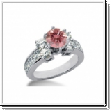 BAGUE 3.00 Ct. ROSE ET BLANC NATUREL DIAMANTS 14K Or
