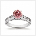 BAGUE 1.60 Ct. ROSE ET BLANC NATUREL DIAMANTS 14K Or