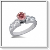 BAGUE 1.86 Ct. ROSE ET BLANC NATUREL DIAMANTS 14K Or