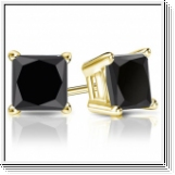 2.00 Ct. black Diamond Earstuds - 14K yellow gold