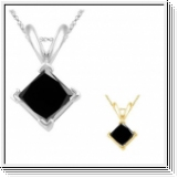 1.00 Carat black Diamond 14K white gold Pendant