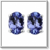 5.00 Ct. blue Tanzanit Earstuds - 14K white gold