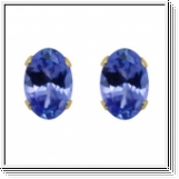 3.50 Ct. blue Tanzanit Earstuds - 14K yellow gold