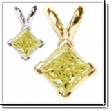 0.35 Carat Jaune Solitaire Diamants Pendentif Or 14K