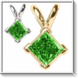 0.35 Carat green Diamond 14K gold Pendant