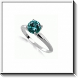 0.25 Quilates Diamante azul Anillo Solitario 14k blanco