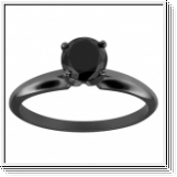 1.00 CT BLACK DIAMOND ENGAGEMENT RING 14K BLACK GOLD