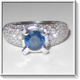 2.91 Carats Sapphire VVS Diamond Ring in 18k White Gold