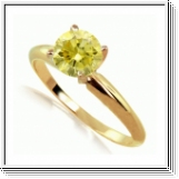 Solitaire 0.50 Ct. Jaune Diamant Bague de Or Jaune 14K