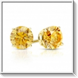 Pendiente de diamante amarillo 0.75 Quilates - 14K ORO amarillo