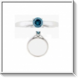 Solitaire Diamant Bague de Or blanc 14K - 0.08 Ct. Bleu Diamant
