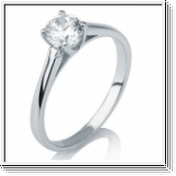 Solitaire Diamant Bague de Or blanc 14K  - 0.15 Carat  F/SI1 -