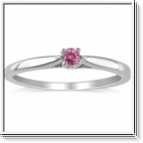 Solitaire 0.20 Ct. Rose Diamant Bague de Or blanc 14K