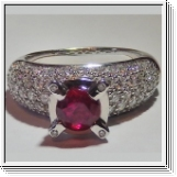 2.70Ct.BAGUE OR BLANC 18K AVEC RUBIS NATUREL ET DIAMANTS