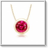3.50 carats Ruby Solitaire Pendant - 14K Yellow Gold