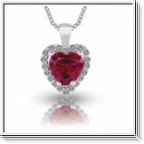 3.44 Carats Rubis- Diamants Pendentif - Or Blanc 14K