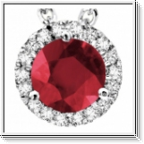 3.30 Carats Rubis- Diamants Pendentif - Or Blanc 14K
