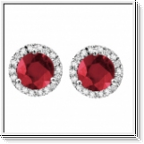 6.60 carats Rubis Boucles d'oreilles diamants - Or blanc 14 ct