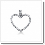 1.00 Carat Diamond Heart Pendant 14K white gold