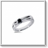 0.50 CT ROUND BLACK DIAMOND 14K WHITE GOLD MEN'S RING
