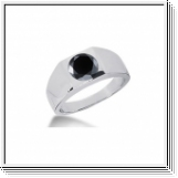 1.00 CT ROUND BLACK DIAMOND 14K WHITE GOLD MEN'S RING
