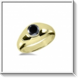 1.00 CT ROUND BLACK DIAMOND 14K YELLOW GOLD MEN'S RING