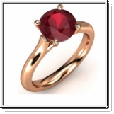 2.10 CT. BAGUE OR ROSE 14K AVEC RUBIS NATUREL