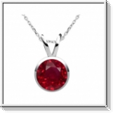 2.10 carats Rubis Pendentif solitaire - or blanc 14K