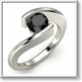 1.00 CARAT BLACK DIAMOND ENGAGEMENT RING 14K GOLD