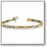 Bracelet Diamants - 2.04 Cts. Diamants  Or Jaune et Or Blanc 14K